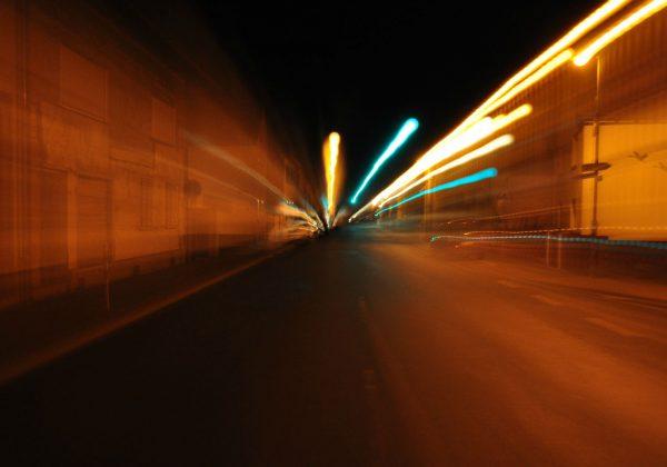 Traffic light at night on Bundestrasse in Germany