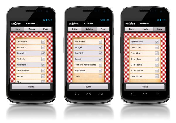 Search form on the Android app was futtern