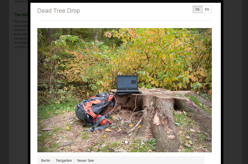 Screenshot interface screen of Dead Tree Drop website