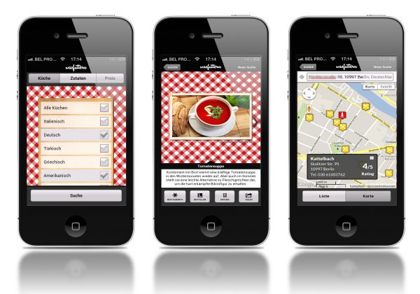 Mobile Screens of the was futtern iOS App