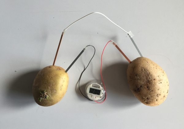 Potato battery runs a digital clock