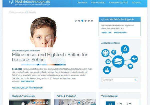 Startpage of Medizintechnologie.de