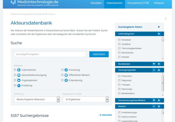 A database for medical engineering players in Germany