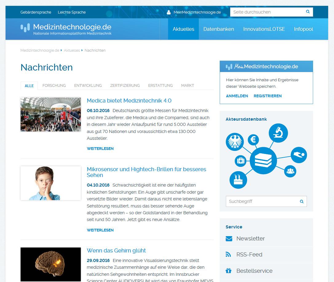 News portal of Medizintechnologie.de