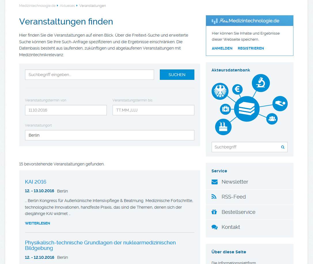 Event database of Medizintechnologie.de