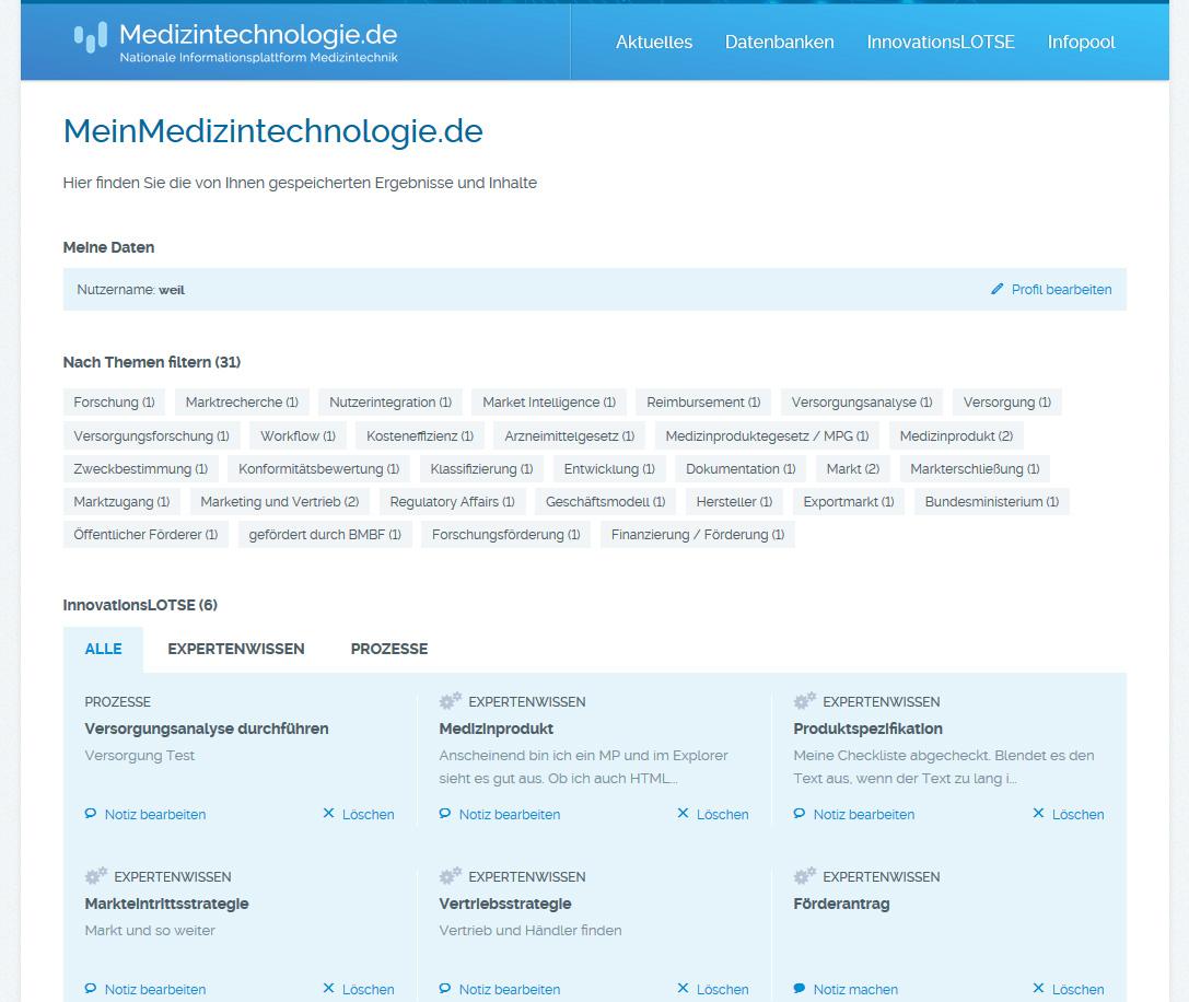 Startscreen MeinMedizintechnologie.de